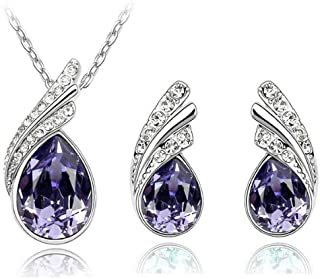 I Jewels Valentine's Special Silver Plated Designer Pendant Set with Earrings for Women