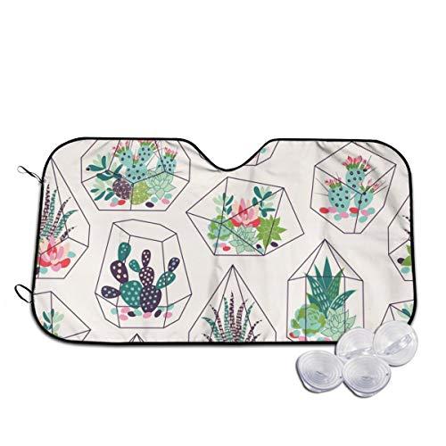 Rterss vetplanten en cactussen textuur in terrariums gepersonaliseerd voorruit zon schaduw vizier voorruit glas voorkomen dat de auto van verwarming tot binnen