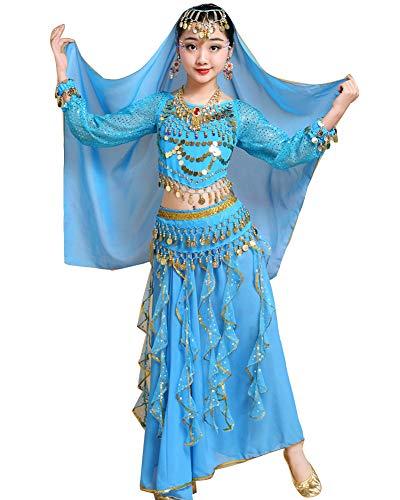 Kinder Mädchens Damen Bauchtänzerin Indische Langarm Top Rock Tanzkleid Kostüme Lake Blau L Höhengeeignet 120-135CM