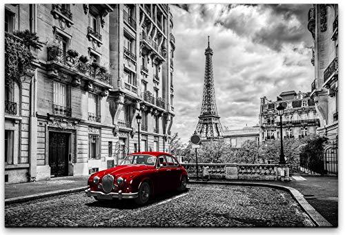bestforhome 120x80cm Leinwandbild roter Oldtimer in Paris Altstadt mit Eiffelturm schwarz-weiß Leinwand auf Holzrahmen