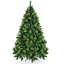 Senjie Artificial Christmas Trees,Feel Real Carolina Pine Tree with Flocked Cones, Green 5/6/7 FT