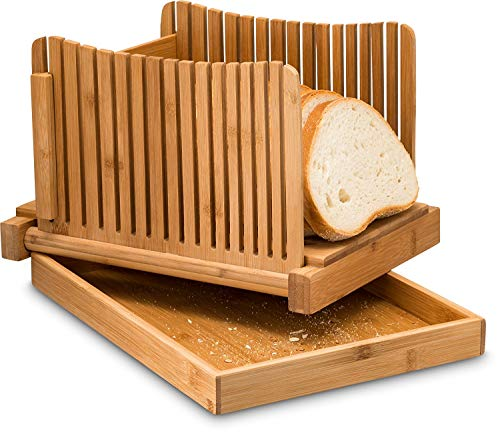 Bamboo Foldable Bread Slicer with Different Slicing Sizes - Compact, Adjustable, Foldable Slice Box Cutter with Cutting Board and Knife Slicing Guide