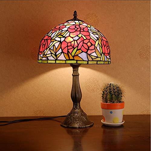 VIWIV Lámpara de escritorio, estilo Tiffany, de cristal, para sala de estar, dormitorio, cálida lámpara de mesa americana, para boda, creativa, romántica, lámpara de mesita de noche, 30 x 50 cm