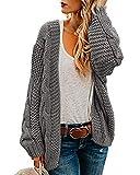Ferrtye Womens Oversized Chunky Open Front Cardigan Sweaters Cable Knit Long Sleeve Boyfriend Cardigans Outwear Coats Grey