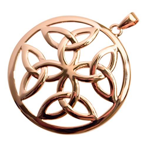 UPCO Jewellery Damen, 18K Rosé-Vergoldeter Runder Keltischer Halskettenanhänger mit 4 Trinity Knoten