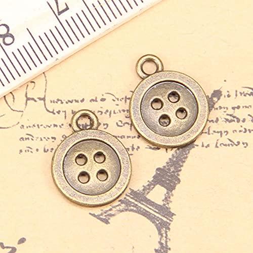 WANM Encanto 20 Piezas Encantos Botón De Doble Cara 13Mm Colgante Antiguo Vintage Joyería De Plata Tibetana DIY para Collar De Pulsera