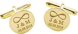 Personalized 925 Sterling Silver Wedding Infinity Cufflinks Gift for Men Custom Made with Any Initial