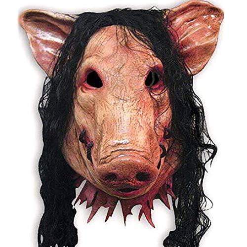 Zag Varken Hoofd Enge Maskers Nieuwigheid Halloween Masker met Haar Halloween Masker Caveira Cosplay Kostuum Latex Festival benodigdheden