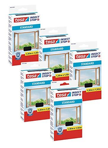 tesa® Insect Stop Standard Fliegengitter für Fenster - Insektenschutz zuschneidbar (5er Pack - Anthrazit (Durchsichtig), 1,3m:1,5m)