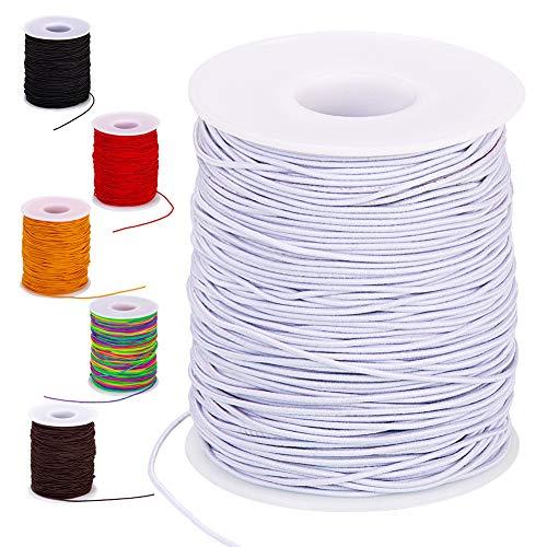 Elastic String for Bracelets, 100-Meter White Elastic Bracelet String Cord for Jewelry Making, 1mm Stretchy Beading Thread for Jewelry Bracelets Making, AIBUTI(White, 1mm)