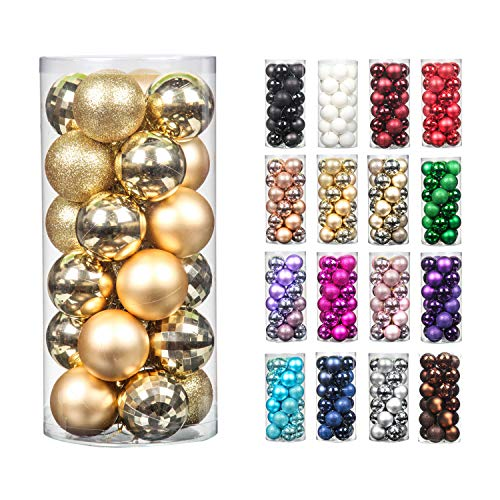 Moonet 24pcs 2.36in Christmas Decoration Balls Shatterproof Color Set Ornaments Balls for Festival Wedding Home Party Decors Xmas Tree Hanging (Gold)