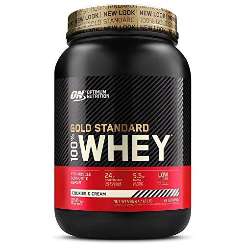 Optimum Nutrition ON Gold Standard Whey Protein Pulver, Eiweißpulver zum Muskelaufbau, natürlich enthaltene BCAA und Glutamin, Cookies & Cream, 28 Portionen, 900g, Verpackung kann Variieren