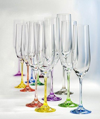 Kristall Bohemia Gläser-- Model Rainbow -- 6 er Set -- verschiedene Farben (Sektgläser 6 x 190 ml)