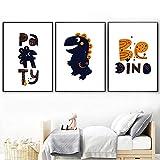 Dinosaurio de dibujos animados Animal Print Wall Art Canvas Poster Nursery Painting Sala de juegos Baby Posters Wall Pictures For Boy Room Decor 40x60cmx3 Sin marco