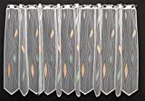Scheibengardine mit Tropfenmuster 75 cm hoch   Breite der Gardine durch gekaufte Menge in 14 cm Schritten wählbar (Anfertigung nach Maß)   weiß mit pastellgrün/pastellorange   Vorhang...
