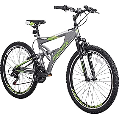 Merax FT323 Mountain Bike 21 Speed Full Suspension Aluminum Frame MTB Bicycle - 26 inch (Gray&Green)