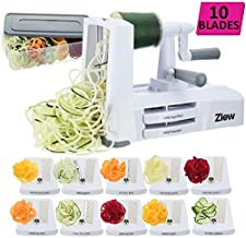 ZLEW 10 Spiralizer Vegetable Slicer Strongest Heaviest Duty Veggie Pasta Spaghetti Maker for Healthy Low Carb/Paleo/Gluten-Free Meals with Blade Caddy, Container, Lid & Exclusive Recipe Book, White
