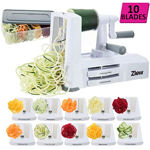 10-Blade Spiralizer Vegetable Slicer Strongest Heaviest Duty Veggie Pasta Spaghetti Maker for Healthy Low Carb/Paleo/Gluten-Free Meals with Blade Caddy, Container, Lid & Exclusive Recipe Book by Zlew