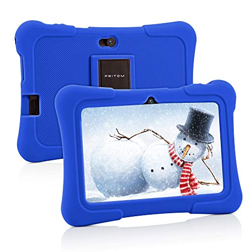 Pritom 7 inch Kids Tablet, Quad Core Android 10, 16GB ROM, WiFi, Bluetooth, Dual Camera, Educationl, Games, Parental Control, Kids Software Pre-Installed with Kids-Tablet Case (Dark Blue)
