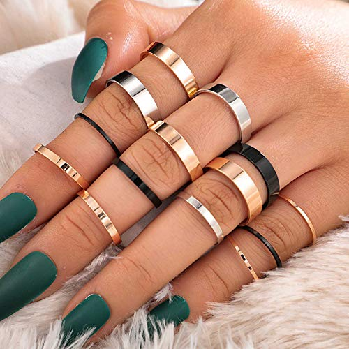 Flrora Boho Simple Finger Ring Set Glod Carved Joint Knuckle Rings Silver Rings Fashion Stackable Ring Set Jewelry Accessories for Women and Girls(14 pcs)