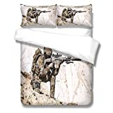 YUEKDA 3D Duvet Cover Set Soldier Sniper Printed Bedding Quilt Cover with Zipper Closure, 3 pcs (1 Duvet Cover + 2 Pillow Cases), Soft Lightweight Microfiber - 61x87inch