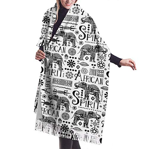Tengyuntong Damen Wickeldecke Schal, Elefant ist mein afrikanischer Geist Kaschmirschal für Frauen Männer Leichte Unisex Mode Weiche Winterschals Fransen Schal Wrap