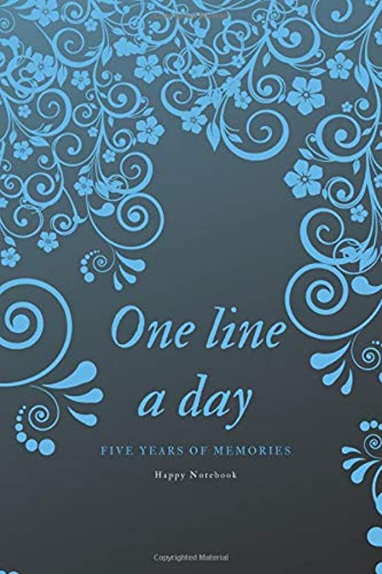 集中的な作物とんでもないOne Line A Day: Five Years of Memories, Journal, Diary (365 Pages, Dated and Lined Book, 6 x 9) blue flowers
