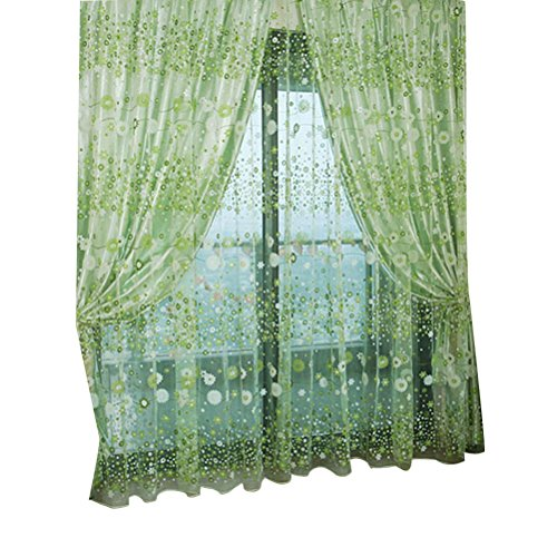 VORCOOL Cortinas de Voile de Tul de la Ventana de Tul de Flores Florales Cortinas para la Sala de Estar del Dormitorio 100x200cm (Verde)