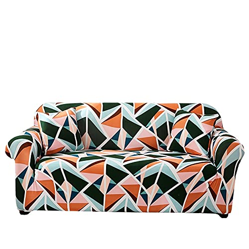 Funda de sofá geométrica Moderna, Envoltura Ajustada, Funda de sofá elástica a Rayas con Todo Incluido, Funda Protectora para Muebles A17, 4 plazas