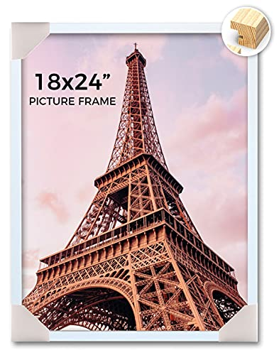 JDconcept Natural Wood 18x24 Picture Frame, Painting White, Wall Gallery Poster Photo Frame for 18 x 24