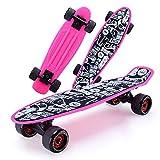 Cruiser Skateboard 57cm Material plástico ecológico Tablero Antideslizante de 4 Ruedas con Bolsa de Transporte por...