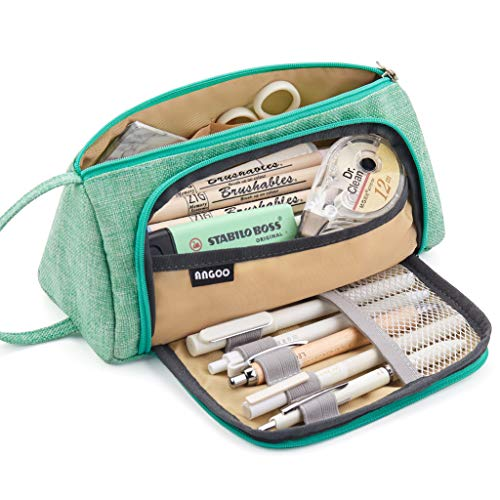 EASTHILL Large Capacity Pencil Case Pen Bag Pouch Holder Multi-slot School Supplies For Middle High School Office College Teen Girl Adult Simple Storage Mint Green