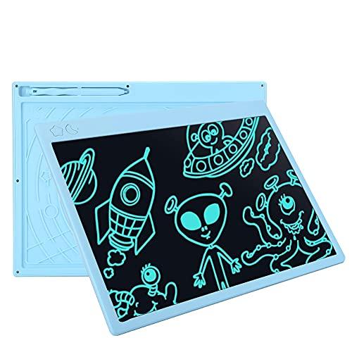 Tableta de escritura LCD de 16 pulgadas Escritura en color Pizarra electrónica Escritura a mano Tablero de dibujo Tablero de notas de mensajes para niños Adultos Oficina de la escuela en casa(Azul)