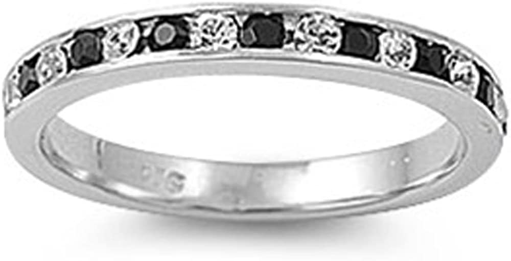 Albuquerque Mall Oxford Diamond Co Black and White Cz Ring Band Ste Outlet sale feature Eternity .925