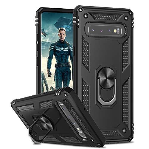 LeYi Funda para Samsung Galaxy S10 Plus Armor Carcasa con 360 Anillo iman Soporte Hard PC y Silicona TPU Bumper antigolpes Fundas Carcasas Case para movil Samsung S10 Plus,Negro