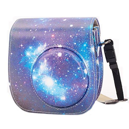 Leebotree Tasche Kompatibel mit Instax Mini 9 / Mini 8 8+ Sofortbildkamera aus Weichem Kunstleder mit Schulterriemen und Tasche (Sternen Himmel)