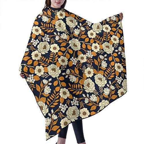 JARVBY Blouse de Salon/Coiffure,Cape de Coupe Cheveux Adulte Navy blue orange cream gold white floral pattern Salon Hair Cutting Gown Barber Cape Cloth