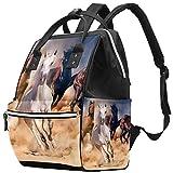 Bennigiry - Mochila para pañales con diseño de caballos y tormenta de arena y cielo dramático, gran capacidad, bolsa de viaje, bolsa organizadora de pañales multifunción para mamá
