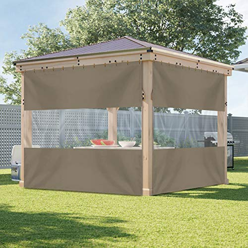 Outdoor Vinyl Curtain with Clear Tarp Panel 12 Oz - 100% Weather Resistant Outdoor Curtain - with Rustproof Grommets - for Pergola, Porch, Gazebos (10' x 10', Beige)