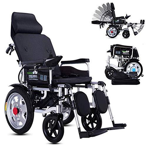Equipo diario Silla de ruedas eléctrica plegable y ligera Silla de ruedas eléctrica con reposacabezas con respaldo reclinable y motor de doble potencia portátil Viaje de tránsito para discapacitado