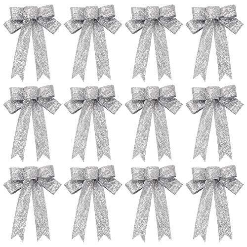 Weihnachten Autoschleifen 12Pcs Sliver Glitter Hochzeit Riesenschleife Hängende Ornamente für DIY Weihnachtskränze Hochzeitsfeiertag Party Tischdekoration Geschenke Geschenkverpackung Bastelbedarf