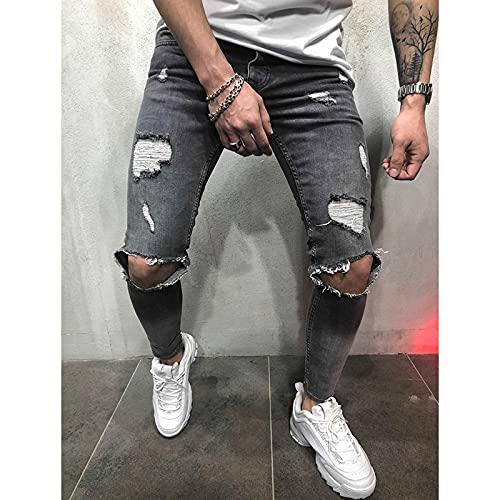 Straight Vaqueros para Hombre Pantalones Vaqueros para Hombre Vintage Skinny Rodilla Destroyed Ripped Jeans Streetwear Slim F