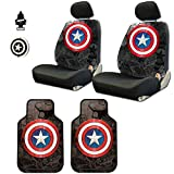 Yupbizauto 8 Pieces Marvel Comic Captain America Car Seat Covers Floor Mats and...
