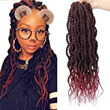 (6Packs)18Inch Wavy Senegalese Twist Crochet Hair Braids Wavy Ends Ombre Synthetic Hair Extension Kanekalon Curly Crochet Twist Braiding Hair (#1B/BUG)