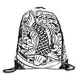 BXBX Plegable Japanese Tattoo Drawstring Backpack Bag Shoulder Bags Gym Bag for Adult