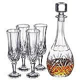 JNMDLAKO Set Decanter per Whisky in Cristallo Italiano Composto da;Decanter per Whisky da 75 cl e 6 Bicchieri da Whisky Doppio Vecchio Stile, B, Set da 5