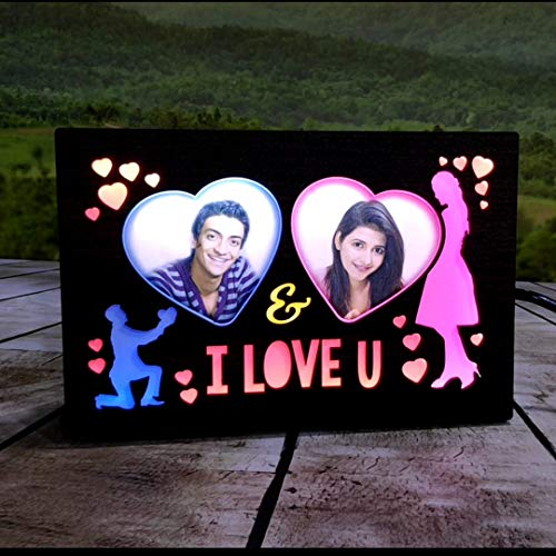 Lvi Craft Customized LED Light MDF Photo Frame Night Lamp Personalized Print Photo Frame Gifts Your Love Birthday (9 x 6 inches)