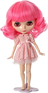 Wigs Only! Big Curls Rose Red Soft Heat Resistant Blythe Pullip Baby Doll Wigs