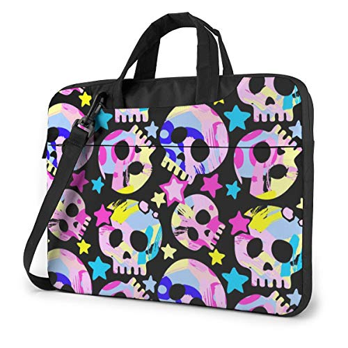 Cute Watercolor Rainbow Skull Laptop Case 15.6 Inch Computer Carrying Protective Case with Strap Bag