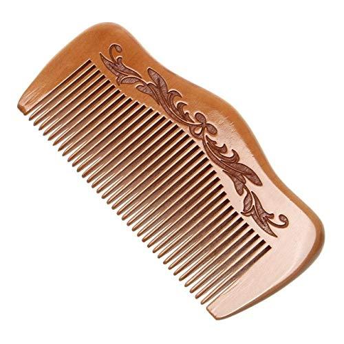 1 Uds Peine de Madera de melocotón Natural Dientes Cerrados antiestático desenredante Peine de Barba Cepillo de Cabeza masajeador Herramientas para el Cuidado del Cabello para Viajes - 3